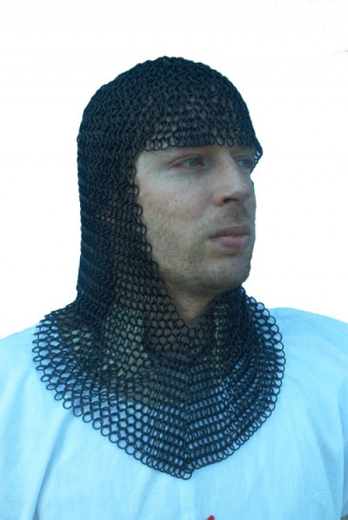 Chainmail coif, blackened